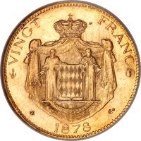 reverse of 20 Francs - Charles III (1878 - 1879) coin with KM# 98 from Monaco.
