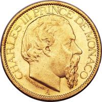 obverse of 100 Francs - Charles III (1882 - 1886) coin with KM# 99 from Monaco. Inscription: CHARLES III PRINCE DE MONACO