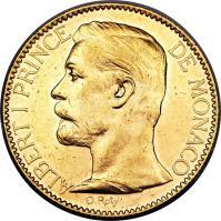 obverse of 100 Francs - Albert I (1891 - 1904) coin with KM# 105 from Monaco. Inscription: ALBERT I PRINCE DE MONACO