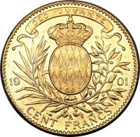 reverse of 100 Francs - Albert I (1891 - 1904) coin with KM# 105 from Monaco. Inscription: 1901 CENT FRANCS