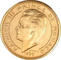 obverse of 20 Francs - Ranier III (1950) coin with KM# E29 from Monaco. Inscription: RAINIER III PRINCE DE MONACO 1950