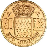 reverse of 20 Francs - Ranier III (1950) coin with KM# E29 from Monaco. Inscription: 20 FRS DEO JUVANTE