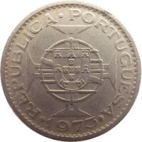 obverse of 5 Escudos (1971 - 1973) coin with KM# 86 from Mozambique. Inscription: MOÇAMBIQUE 5$00