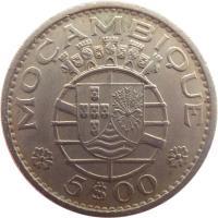reverse of 5 Escudos (1971 - 1973) coin with KM# 86 from Mozambique. Inscription: REPÚBLICA · PORTUGUESA · 1973 ·