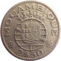 reverse of 2,50 Escudos (1952 - 1973) coin with KM# 78 from Mozambique. Inscription: REPÚBLICA PORTUGUESA 1965