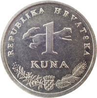 reverse of 1 Kuna - 5th anniversary of Kuna - Croatian text (1999) coin with KM# 9.2 from Croatia. Inscription: REPUBLIKA HRVATSKA 1 KUNA