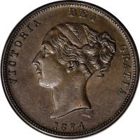 obverse of 1 Penny - Victoria (1874) coin with KM# Tn67 from New Zealand. Inscription: VICTORIA REI GRATIA