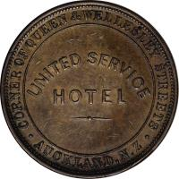 reverse of 1 Penny - Victoria (1874) coin with KM# Tn67 from New Zealand. Inscription: UNITED SERVICE HOTEL .CORNER QUEEN AND WELLESLEY STREET. AUCKLAND.N.Z