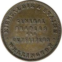 reverse of 1/2 Penny - Kirkcaldie & Stains, Wellington (1874) coin with KM# Tn36 from New Zealand. Inscription: KIRKCALDIE & STAINS GENERAL DRAPERS AND OUTFITTERS WELLINGTON