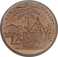 obverse of 1 Penny - Milner & Thompson, Christchurch coin with KM# Tn54 from New Zealand. Inscription: NEW ZEALAND