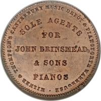 reverse of 1 Penny - Milner & Thompson, Christchurch coin with KM# Tn54 from New Zealand. Inscription: MILNER & THOMSON'S CANTERBURY MUSIC DEPOT & PIANOFORTE WAREHOUSE SOLE AGENTS FOR JOHN BRINSMEAD & SONS PIANOS