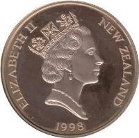 obverse of 10 Dollars - Elizabeth II - Century of Motoring (1998) coin with KM# 114 from New Zealand. Inscription: ELIZABETH II NEW ZEALAND 1998