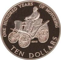 reverse of 10 Dollars - Elizabeth II - Century of Motoring (1998) coin with KM# 114 from New Zealand. Inscription: ONE HUNDRED YEARS OF MOTORING BENZ TEN DOLLARS