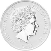 obverse of 1 Dollar - Rowi (2005) coin with KM# 153 from New Zealand. Inscription: NEW ZEALAND ELIZABETH II 2005