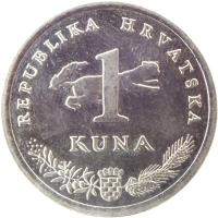reverse of 1 Kuna - 20th anniversary of Kuna - Latin text (2014) coin with KM# 104 from Croatia. Inscription: REPUBLIKA HRVATSKA 1 KUNA