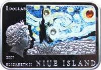 obverse of 1 Dollar - Elizabeth II - Vincent van Gogh (2007) coin with KM# 176 from Niue. Inscription: 1 DOLLAR 2007 ELIZABETH II NIUE ISLAND
