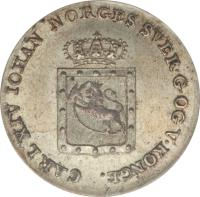 obverse of 2 Skilling - Carl XIV (1825) coin with KM# 297 from Norway. Inscription: CARL XIV IOHAN NORGES SVER.G.OG V.KONGE.