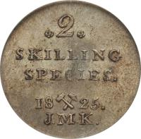 reverse of 2 Skilling - Carl XIV (1825) coin with KM# 297 from Norway. Inscription: *2* SKILLING SPECIES. 18X25.