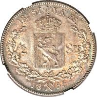 reverse of 1 Specie Daler - Oscar I (1846 - 1857) coin with KM# 317 from Norway. Inscription: 9¼ ST.1 MK.FS. 1 / SPS= 18X55