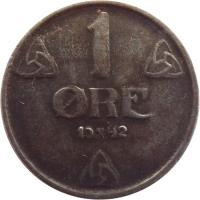 reverse of 1 Øre - Haakon VII - WW2 German Occupation (1941 - 1945) coin with KM# 387 from Norway. Inscription: 1 ØRE 1943