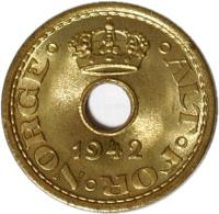 obverse of 10 Øre - Haakon VII - WW2 Exile Coinage (1942) coin with KM# 391 from Norway. Inscription: 1942 · ALT · FOR · NORGE ·