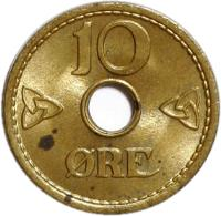 reverse of 10 Øre - Haakon VII - WW2 Exile Coinage (1942) coin with KM# 391 from Norway. Inscription: 10 ØRE