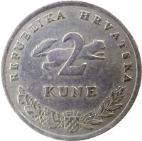 reverse of 2 Kune - Croatian text (1993 - 2015) coin with KM# 10 from Croatia. Inscription: REPUBLIKA HRVATSKA 2 KUNE