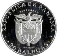 obverse of 20 Balboas - Vasco Nunez de Balboa (1977 - 1979) coin with KM# 44 from Panama. Inscription: · REPUBLICA DE PANAMA · LEY 0.925F · 20 BALBOAS ·