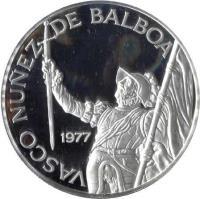 reverse of 20 Balboas - Vasco Nunez de Balboa (1977 - 1979) coin with KM# 44 from Panama. Inscription: VASCO NUÑEZ DE BALBOA 1977