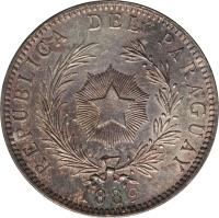 obverse of 1 Peso (1889) coin with KM# 5 from Paraguay. Inscription: REPUBLICA DEL PARAGUAY