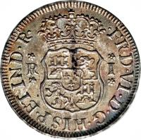 obverse of 1 Real - Fernando VI - Colonial Milled Coinage (1752 - 1760) coin with KM# 52 from Peru. Inscription: FRD VI D G HISP ET IND R R I