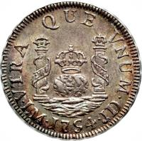 reverse of 1 Real - Fernando VI - Colonial Milled Coinage (1752 - 1760) coin with KM# 52 from Peru. Inscription: VTRA QUE VNUM LM 1754 JD