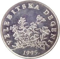 obverse of 50 Lipa - Croatian text (1993 - 2015) coin with KM# 8 from Croatia. Inscription: VELEBITSKA DEGENIJA KK 2003.
