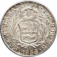 obverse of 4 Reales (1842 - 1857) coin with KM# 151a from Peru.