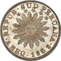 obverse of 2 Reales - South Peru (1837) coin with KM# 169 from Peru. Inscription: REPUB · SUD PERUANA · CUZCO 1837 ·