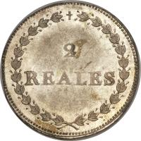 reverse of 2 Reales - South Peru (1837) coin with KM# 169 from Peru. Inscription: 2 REALES B.A.