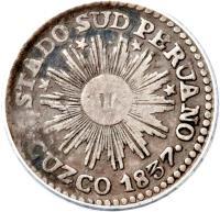obverse of 1/2 Real - South Peru (1837) coin with KM# 166 from Peru. Inscription: ESTADO SUD PERUANO CUZCO 1837 ·
