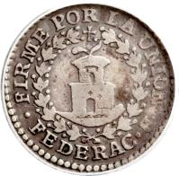 reverse of 1/2 Real - South Peru (1837) coin with KM# 166 from Peru. Inscription: FIRME POR LA UNION · B · FEDERAC ·