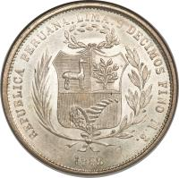 obverse of 50 Centimos - Transitional Coinage (1858) coin with KM# 178 from Peru.