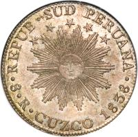 obverse of 8 Reales - South Peru (1837 - 1839) coin with KM# 170 from Peru.