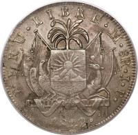 obverse of 8 Reales - Provisional Coinage (1822 - 1823) coin with KM# 136 from Peru.