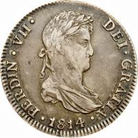 obverse of 4 Reales - Fernando VII - Colonial Milled Coinage (1811 - 1821) coin with KM# 116 from Peru.