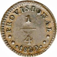 reverse of 1/4 Real - Provisional Coinage (1822) coin with KM# 135 from Peru.