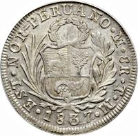obverse of 8 Reales - North Peru (1836 - 1839) coin with KM# 155 from Peru.