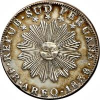 obverse of 4 Reales - South Peru (1838) coin with KM# 172 from Peru.