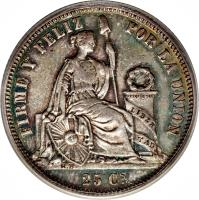reverse of 25 Centimos - Transitional Coinage (1859) coin with KM# 182 from Peru.