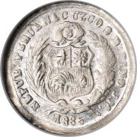 obverse of 1/2 Dinero - South Peru (1885) coin with KM# 189a from Peru.