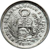 obverse of 1 Dinero - South Peru (1886) coin with KM# 190a from Peru.