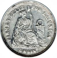 reverse of 1 Dinero - South Peru (1886) coin with KM# 190a from Peru.