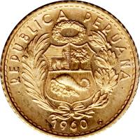 obverse of 5 Soles Oro (1956 - 1969) coin with KM# 235 from Peru.